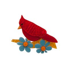 Limited edition, original Erstwilder Ruby the Red Cardinal brooch in red. Designed by Louisa Camille Melbourne. Quirky Gifts, Sock Animals, Bird Jewelry, Wholesale Jewelry, Unique Vintage, Rainbow Colors, All The Colors, Brooch Pin, Red And Blue