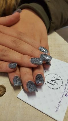 Square Nails. Glitter Nails. Lillys Nails Maidstone