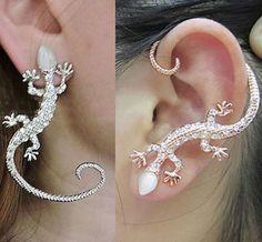 Nightclub Embedded Diamond Punk Gecko Earrings