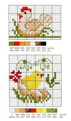 PAQUES Chicken Cross Stitch, Mini Cross Stitch, Cross Stitch Animals, Cross Stitch Flowers, Cross Stitch Charts, Counted Cross Stitch Patterns, Cross Stitch Designs, Cross Stitch Embroidery, Broderie Simple