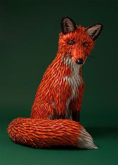 Another stunning series by the French creative duo Zim&Zou – Lucie Thomas and Thibault Zimmermann.  These new animals created for the windows of the Hermès store in Shanghai were inspired by the Museum of Natural History and completely handmade with paper and leather.