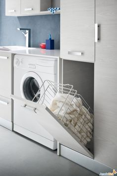 Browse laundry room ideas and decor inspiration. Discover designs for custom laundry rooms and closets, including utility room organization and storage solutions. Small Laundry Rooms, Laundry In Bathroom, Washroom, Small Bathroom, White Bathroom, Bathroom Ideas, Laundry Room Cabinets, Laundry Room Design, Small Room Bedroom