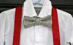 Black & White Houndstooth Bowtie Bow Tie and Red by IDressToThrill
