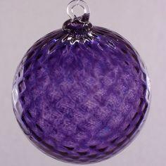 Amethyst Purple Diamond Facet Blown Glass Ornament 3.5 by Oberini, $25.00