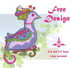 Free Designs are a great way to practice with your machine and to check our stitchquality. From 'In the hoop', Applique to Filled Stitch try them all!  Comes with color chart andeasy to follow instructionsif needed