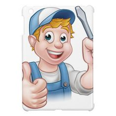 Electrician Handyman Cartoon Character Cover For The iPad Mini