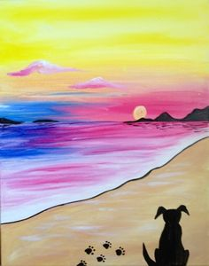 Dog on the beach beginner painting idea. Billy Berks Restaurant 08/03/2015