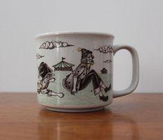 OTAGIRI Original Japan Circus Clown Somersault Stoneware Mug Cup Hand Crafted