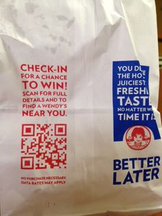 Wendy's has put QR Codes on their bags.