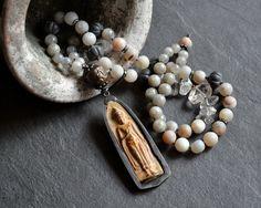 Earthy buddha necklace Asian beaded necklace by JeSoulStudio
