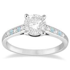 Cathedral Aquamarine & Diamond Engagement Ring 14k White Gold 0.20ct