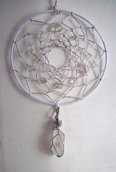 Dream Catcher WITH PEARLS AND BEACH GLASS AND SEA SHELLS