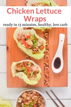 You don't want to miss these healthy PF Chang copycat Chicken Lettuce Wraps. Ready in just 15 minutes and taste just like the restaurant version. Low carb and delicious! Healthy Wraps, Healthy Work Snacks, Healthy Appetizers, Clean Eating Snacks, Healthy Eating, Healthy Food, Healthy Choices, Lunch Recipes, Healthy Recipes