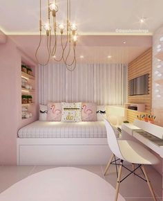 I really like this indent for the day bed with shelves and a tv Bedroom Decor For Teen Girls, Cute Bedroom Ideas, Room Ideas Bedroom, Small Room Bedroom, Room Design Bedroom, Girl Bedroom Designs, Home Room Design, Stylish Bedroom, Aesthetic Bedroom