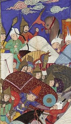 "Persian maces being used in battle, detail view. ""The Besotted Iranian Camp Attacked by Night"", Folio 241r from the Shahnama (Book of Kings) of Shah Tahmasp. Author: Abu'l Qasim Firdausi (935–1020). Artist: Painting attributed to Qadimi (active ca. 1525–65). Folio from an illustrated manuscript. Date: ca. 1525–30. Iran, Tabriz. Met Museum."
