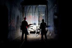 Adventurers Steve Duncan and Erling Kagge explore subterranean New York City. Their flashlights shine on an abandoned train in Brooklyn's Ea...