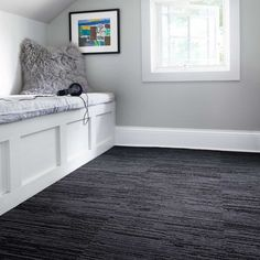 The alchemy of mixed cut and loop pile in this style gives you a softer, more luxe area rug feel with the durability of other textured carpet squares. Dark Carpet, Beige Carpet, Modern Carpet, Dark Grey Carpet Bedroom, Bedroom Carpet Colors, Brown Carpet, Carpet Decor, Home Carpet, Rugs On Carpet