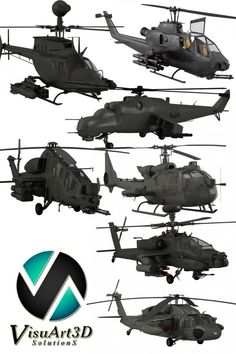 3D Model Military helicopter collection c4d, obj, 3ds, fbx, ma, lwo 60277