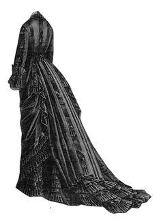 1876 Black Faille Dress Pattern