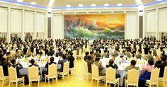 조선인민군 제4차 수산부문열성자회의 참가자들을 위한 연회 진행