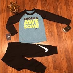 Nike toddler 2 PC set Brand new w tags. Super cute toddler boys Nike 2 PC set w DRI-FIT long sleeve shirt. 4T Nike Other