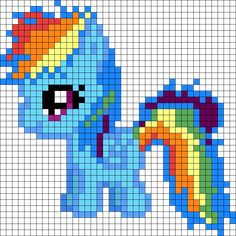 Filly Rainbow Dash My Little Pony Perler Bead Pattern / Bead Sprite
