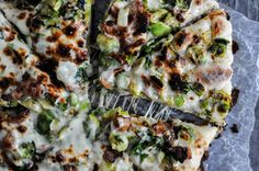 cast iron pizza with brussels sprouts and bacon!!!
