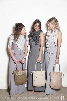 Zusss l Voor iedereen een kleurtje! Makkelijke shopper small, olijf, zand en lever l www.zusss.nl