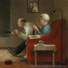 by Marius van Dokkum - Dutch Artist and Illustrator Greg and I. Add a dog or two and it's my future. Art And Illustration, Figure Painting, Painting & Drawing, Vieux Couples, Michael Sowa, Growing Old Together, Knit Art, Dutch Painters, Dutch Artists