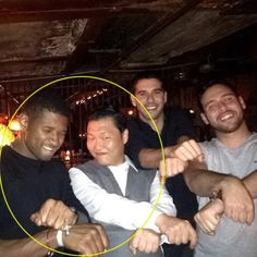 Psy with Usher & Scouter Braun in Korea Town