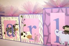 Scarlett Jungle Collection -Inspired by Jacana Bedding - Personalized Blocks - Jungle Animals - Nursery decoration, wall letters