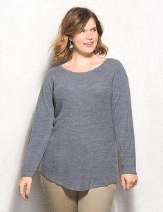 Plus Size Ribbed Sweater Tunic   dressbarn