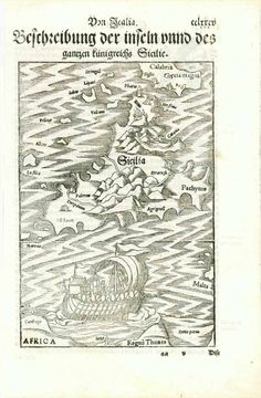 """Sicily. - """"Von Italia Beschreibung der inseln unnd des gantzen kuenigreichs Sicilie"""" The island of Sicily and surrounding islands. The south tip of Calabria and the north tip of Africa. Woodcut. Published in """"Cosmographia"""" by Sebastian Muenster (1488-1552) German edition. Basel, 1553 Original antique print For a 30% discount enter MAPS30 at chekout On reverse text about Sicily in German Very light general age toning. Very good condition. Map: 21,3 x 14,7 cm (ca. 8.4 x 5.8"""") Page size:"""