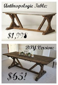 Build a stylish kitchen table with these free farmhouse table plans. They come in a variety of styles and sizes so you can build the perfect one for you. Farmhouse dining room table and Farm table plans. Build A Table, Diy Table, Patio Table, Table Bench, Garden Table, Trestle Table, Craft Tables, Furniture Projects, Diy Projects