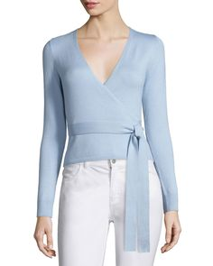 Silk-Blend Ballerina Wrap Sweater, Blue Cloud