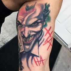 Joker tattoo is probably one of the most popular tattoos among the comic fans. People are fascinated by the Joker. Home Tattoo, Wolf Tattoo Sleeve, Sleeve Tattoos, Girl Arm Tattoos, Hand Tattoos, Tatoos, Names Tattoos For Men, Tattoos For Women, Batman Tattoo