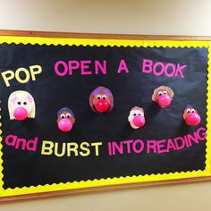 Pop Open a Great Book - inspiration for a library bulletin board Christmas Bulletin Boards, Reading Bulletin Boards, Winter Bulletin Boards, Preschool Bulletin Boards, Bulletin Board Display, Classroom Bulletin Boards, Preschool Classroom, Kindergarten, Middle School Libraries