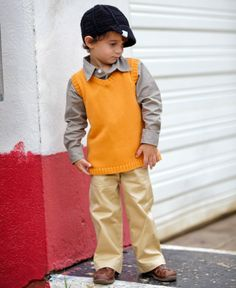 RuggedButts.com - Orange Sweater Knit Vest    The perfect color-Go OK State!  #RuffleButts