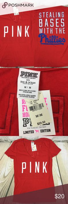 Victoria's Secret Pink Phillies V-neck NWT size M Super cute and fun for baseball season or anytime to show you're a true fan! Size M. Brand new with tags Victoria's Secret Tops Tees - Short Sleeve