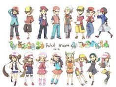All the Pokemon Trainers in different trainer outfits (can you name where each trainer is from, ans also tell where each outfit SHOULD go? Pokemon Mew, Pikachu, Gijinka Pokemon, Pokemon Manga, Pokemon Pins, Pokemon Images, Pokemon Pictures, Cute Pokemon, Pokemon Party