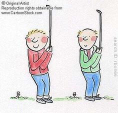 Father and son play golf. by Brooks, Rosie