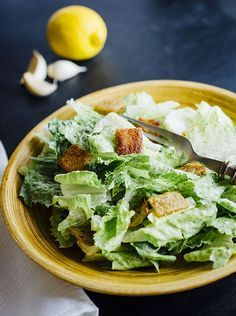 Paleo Caesar Salad with yucca croutons. Tangy & bursting with freshness.