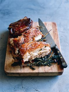 Who doesn't love pork belly? Sage-Roasted Pork Belly as long as it is organic free range Pork Belly Recipes, Meat Recipes, Cooking Recipes, Brocolli Recipes, Spinach Recipes, Yummy Recipes, Recipies, I Love Food, Good Food