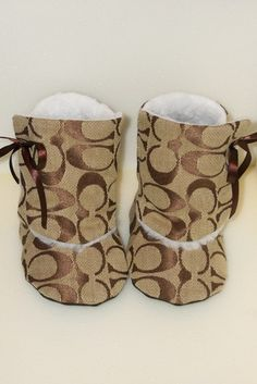 Inspired Toddler Baby Boots with Faux Fur Lining by SewFreaknFab. Coach baby Booties! LOVE!