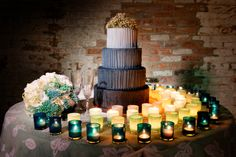 Funky gray ombre cake; love the green to ivory ombre votives.