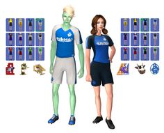 """THIS IS FOR SIMS 2. Just a simple edit to go along with the cheerleader uniforms. I switched the """"major league"""" emblem for mascots for storytelling purposes, but why not..."""
