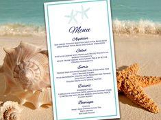 Beach Wedding Menu Template Wedding Instant by PaintTheDayDesigns