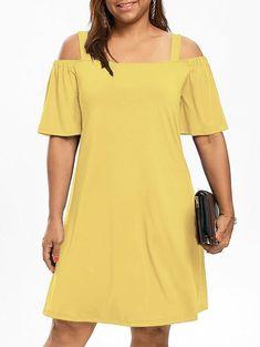 Plus Size Dress Women Cold Shoulder Half Sleeve Dresses 8 Clolor Spring Casual Party Dress Vestidos Yellow XXXL Half Sleeve Dresses, Half Sleeves, Types Of Sleeves, Dresses With Sleeves, Ivory Dresses, Plus Size Dresses, Plus Size Outfits, Yellow Sundress, Casual Party Dresses
