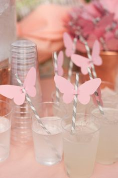 Weave in these magical and breathtaking butterfly wedding ideas on your wedding gown, reception decor, and even the cake! A butterfly wedding is one of the most magical and romantic wedding themes ever. 1st Birthdays, First Birthday Parties, Birthday Party Decorations, Baby Shower Decorations, Birthday Brunch, Butterfly Party Decorations, Birthday Ideas, Straw Decorations, Table Decorations