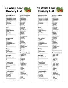 The no white food diet in this printable grocery list mostly eliminates white flour, white sugar, and salt. Free to download and print